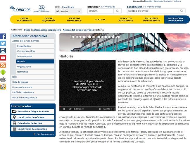 página web de Correos